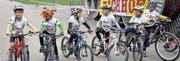 Die Kinder der IG Radsport Uri sind eine Bereicherung der Abendrennen im Plattischachen. (Bild: Josef Mulle (Amsteg, April 2016))