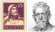 Für das Tell-Denkmal in Altdorf und somit für das Brustbild auf der populären Schweizer Briefmarke stand der Landwirt Dominik Iten aus Unterägeri Modell. Die Zeichnung von 1922 zeigt ihn in fortgeschrittenem Alter. (Bild: PD)