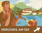 Die Werbetafel für Hergiswil mit der Glasi.