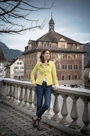 Petra Gössi, fotografiert auf dem Hauptplatz in Schwyz. (Bild: Pius Amrein (Schwyz, 24. November 2017))