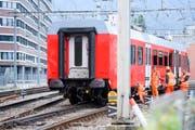 Der entgleiste Zug der Uetliberg-Bahn. (Bild: Keystone)