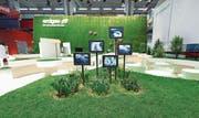 Ein Ausstellungsstand soll neugierig machen: Messefachmann Patrick Kurth setzte beispielsweise für eine Standpräsentation für einen Kunden echten Rasen und Blumen ein. (Bild: pd)