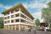 So soll das neue Zentrumshaus an der Buochserstrasse dereinst aussehen. (Bild: Visualisierung: PD)
