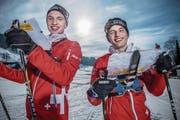 Absolvieren im Entlebuch zusammen eine Trainingseinheit: Noel (links) und Corsin Boos aus Malters. (Bild: Boris Bürgisser (Marbach, 2. Februar 2017))
