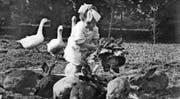 Clairelise Montani als Kind im Garten des Cottage und als «Appenzellerli» an der Fasnacht 1936 (oben). Das Bild unten links zeigt Klärli und Emil Jung am Couleur-Ball in Basel im Hotel Les Trois Rois (1934). Rechts unten ein Familienfoto mit Ruedi (links) und Clairelise (um 1936). (Bilder: PD)