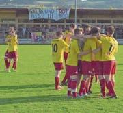 Grosser Jubel bei den Spielern des FC Sempach nach einer herausragenden Saison. (Bild: Michael Wyss (Sempach, 10. Juni 2017))