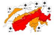 Die Gefahrenkarte von Sonntag, 8 Uhr: In den orange markierten Teilen herrscht erhebliche Lawinengefahr, in den roten gar grosse Lawinengefahr. (Bild: Screenshot slf.ch)