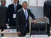 US-Präsident Obama trifft zum Atomgipfel ein. In seiner Rede warnte er vor den Gefahren eines Atomterrorismus durch Dschihadisten. (Bild: Keystone/EPA BLOOMBERG POOL/ANDREW HARRER / POOL)