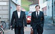 Ignaz Walker (links) und sein Verteidiger Linus Jaeggi werden erneut vor dem Obergericht Uri antreten. (Bild: Pius Amrein (Altdorf, 22. Februar 2016))