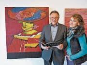 """Unter dem Titel """"Poesie"""" treten Carmen Annen Bonati und ihr Ehmann Bruno Annen mit Bildern und Gedichten in der Ermitage gemeinsam auf. (Bild: Romano Cuonz (Beckenried, 3. November 2017))"""