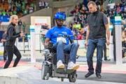 Am Cybathlon ist modernste Technik gewünscht. Viele der Motoren Exoskelette oder Rollstühle stammen aus Sachseln.Bilder: Keystone/Alexandra Wey (Zürich, 8. Oktober 2016)