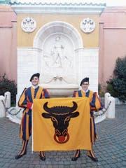 Der 25-jährige Tobias Renner aus Erstfeld (links) und der 21-jährige Sandro Siegrist aus Silenen leisten seit Oktober gemeinsam Dienst bei der Schweizergarde. (Bild: PD (Vatikan, 1. Dezember 2017))