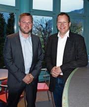 Emanuel Käch (links) ersetzt Erich Amstutz im Vorstand des Nidwaldner Hauseigentümerverbandes. (Bild: Kurt Liembd (Hergiswil, 11. April 2017))