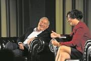Samih Sawiris gab sich gestern gut gelaunt bei Moderatorin Beatrice Müller. (Bild: Urs Hanhart (Altdorf, 22. November 2017))