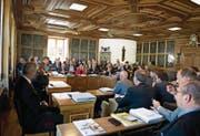 Eine Sitzung des Landrats im Rathaus. (Bild: Corinne Glanzmann (Stans, 25. Mai 2016))