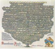 Stammbaum der Familie Jauch mit dem Stammvater Johann Jauch, der um 1470 in Wassen geboren wurde. Der Stammbaum – gefertigt von Heraldiker Albert Huber – weist insgesamt 16 Generationen auf. Johann Jauch ist 1515 in der Schlacht von Marignano gefallen. (Bilder: Rolf Gisler)