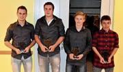16 Sportler wurden an der DV des Urner Turnverbands speziell geehrt. Stellvertretend die Ehrung der Ringer (von links): Simon Gerig, Lucas Epp, Thomas Epp und Fabian Zgraggen. (Bild: Georg Epp (Altdorf, 18. November 2017))