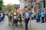OK-Präsident Walter von Rotz führt das Senten der Alp Hinter Stalden an. (Bild Robert Hess)