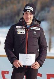 Janik Riebli: rundum zufrieden nach seinem Erfolg im Sprint. (Bild: PD (Ulrichen (2 . Dezember 2017))