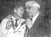 Die FCL-Meistermacher: Trainer Friedel Rausch (links) und Präsident Romano Simioni. (Bild: Archiv/Neue LZ (Luzern, 11. Juni 1989))
