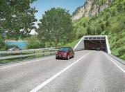 So soll das Südportal des geplanten Tunnels Kaiserstuhl für die Umfahrung zwischen Giswil und Lungern aussehen. (Bild: Visualisierung: PD)