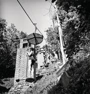 Der Stehlift von der Liegewiese des Hotels Fürigen zum Vierwaldstättersee war ein Unikat. (Bild: Leonard von Matt)