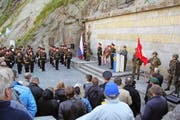 Divisionär Lucas Caduff sprach an der Suworow-Gedenkfeier zu den Gästen. Bild: Paul Gwerder (Andermatt, 24. September 2016)