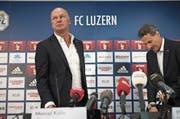 Angeschlagene Klubführung: FCL-CEO Marcel Kälin (links) und Präsident Philipp Studhalter an der Medienkonferenz. (Bild: Corinne Glanzmann (Luzern, 5. Januar 2018))