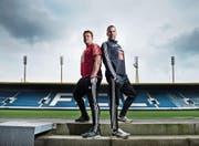 Positive Aussichten: FCL-Trainer Markus Babbel (rechts) und Assistent Patrick Rahmen. (Bild: Dominik Wunderli (Luzern, 1. März 2016))