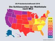 Die Wahllokale schliessen innerhalb der Bundesstaaten zu unterschiedlichen Zeitpunkten. Die Karte zeigt die jeweils späteste Schliesszeiten an. (Bild: bac)