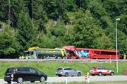 Die Unfallstelle in Piotta. (Bild: Keystone / Ti-Press)
