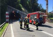 Die Feuerwehr vor dem Mosi-Nordportal. (Bild: feuerwehr-schwyz.ch)