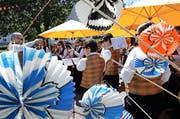 1.-August-Feier in Baar. Die Harmoniemusik spielt auf. (Archivbild Werner Schelbert)