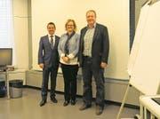 Von links: Daniel Strub, CEO, Sabina Rüttimann, Stiftungsratspräsidentin, und Rainer Leuthard, CFO. (Bild: Andrea Muff (Muri, 27. April 2017))