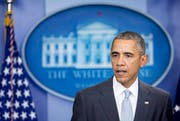 Der amerikanische Präsident Barack Obama bei seiner Rede am Freitagabend zu den Anschlägen in Paris. (Bild: Keystone)