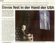 In der «Neuen Luzerner Zeitung» war Bill Clintons WEF-Besuch damals das Tagesthema gewindmet. (Bild: Screenshot Archiv)