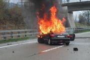 Die Unfallstelle auf der A13 bei Widnau. (Bild: Kantonspolizei St. Gallen)