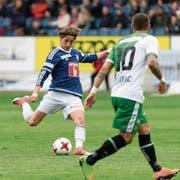 Matchentscheidend: Hekuran Kryeziu schiesst ... und trifft zum 1:0. (Bild: Georgios Kefalas/Keystone (Luzern, 17. April 2017))