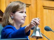 Nationalratspräsidentin Christa Markwalder (FDP/BE) leitet die Beratungen zur Reform der Altersvorsorge. Diese dauern den ganzen Tag. (Bild: KEYSTONE/ANTHONY ANEX)