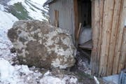 Grosse Steine beschädigten auf der Liegenschaft Mürg einen Ziegenstall. (Bild: Franz Imholz)