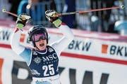 Jubelt nach ihrem starken zweiten Lauf: Simone Wild. (Bild: Jean-Christophe Bott/Key (Lenzerheide))