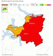 Gefahrenkarte für den Kanton Schwyz bis Samstagabend. (Bild: Quelle: Meteocentrale.ch)