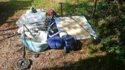 Der im Naturschutzgebiet beim Schlierensammler entsorgte Abfall. Bild: PD