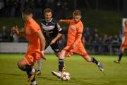 Yannick Rapelli vom FC Schötz mit einem Schuss aufs Tor. (Bild: Daniela Frutiger / freshfocus)