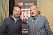 Präsident Richi Odermatt (rechts) mit Nik Hartmann. (Bild: Romano Cuonz (Stans, 22. November 2017))