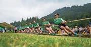 Mit vereinten Kräften: Das Engelberger Team in der 580-Kilo-Kategorie zieht am gleichen Strang. (Bild: Roger Grütter (Engelberg, 24. Juni 2017))