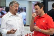 Jörg Schild, Präsident von Swiss Olympic, und Ralph Stoeckli, Missionschef, von links, am Dienstag, 19. Juli 2016. (Bild: KEYSTONE/Lukas Lehmann)