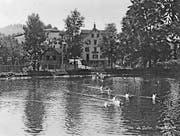 Der Nestweier auf einer Postkarte vor 1932. Er figuriert erstmals auf einem Plan von 1830. Wann genau und wieso er gebaut wurde, ist unklar.