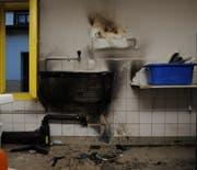 Durch den Brand entstand im Wäschehaus ein Sachschaden von mehreren tausend Franken. (Bild: Kapo SG)