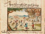 Der Sturm auf die Kartause Ittingen als aquarellierte Federzeichnung in der Reformationschronik Heinrich Bullingers von 1605 (ZB Zürich). (Bild: Kartause Ittingen)